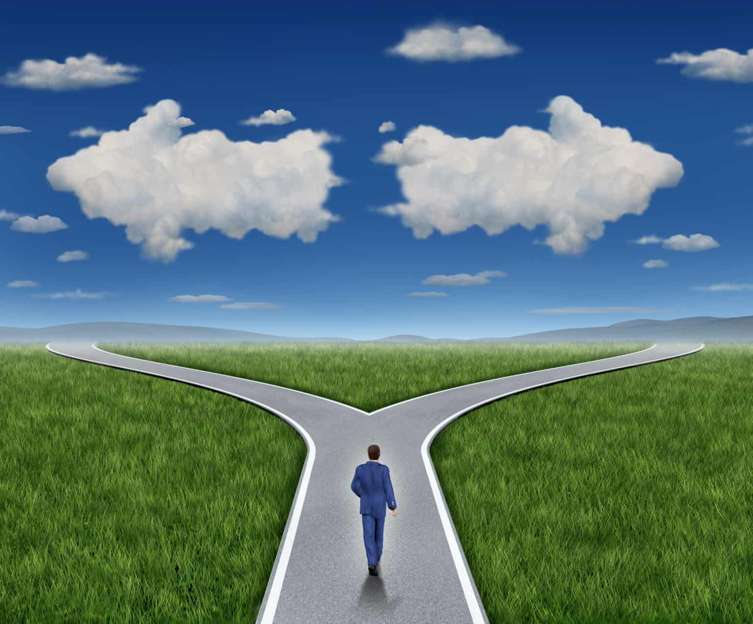 Business guidance questions and career path as a business person walking to a crossroad highway with two clouds shaped as arrows pointing in opposite directions on a blue summer sky and grass representing financial advice guide and looking for answers.