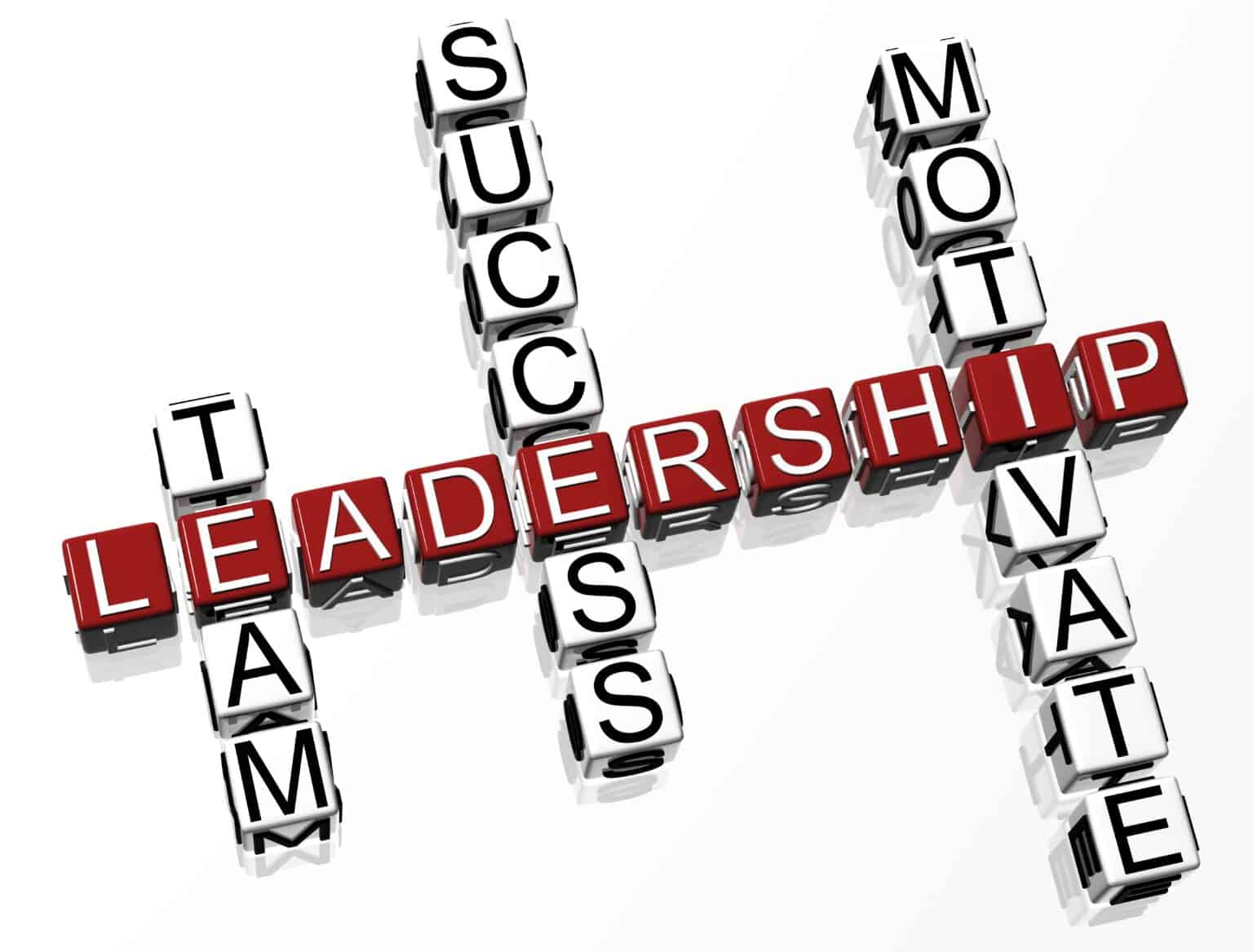 3D Leadership Crossword text on white background
