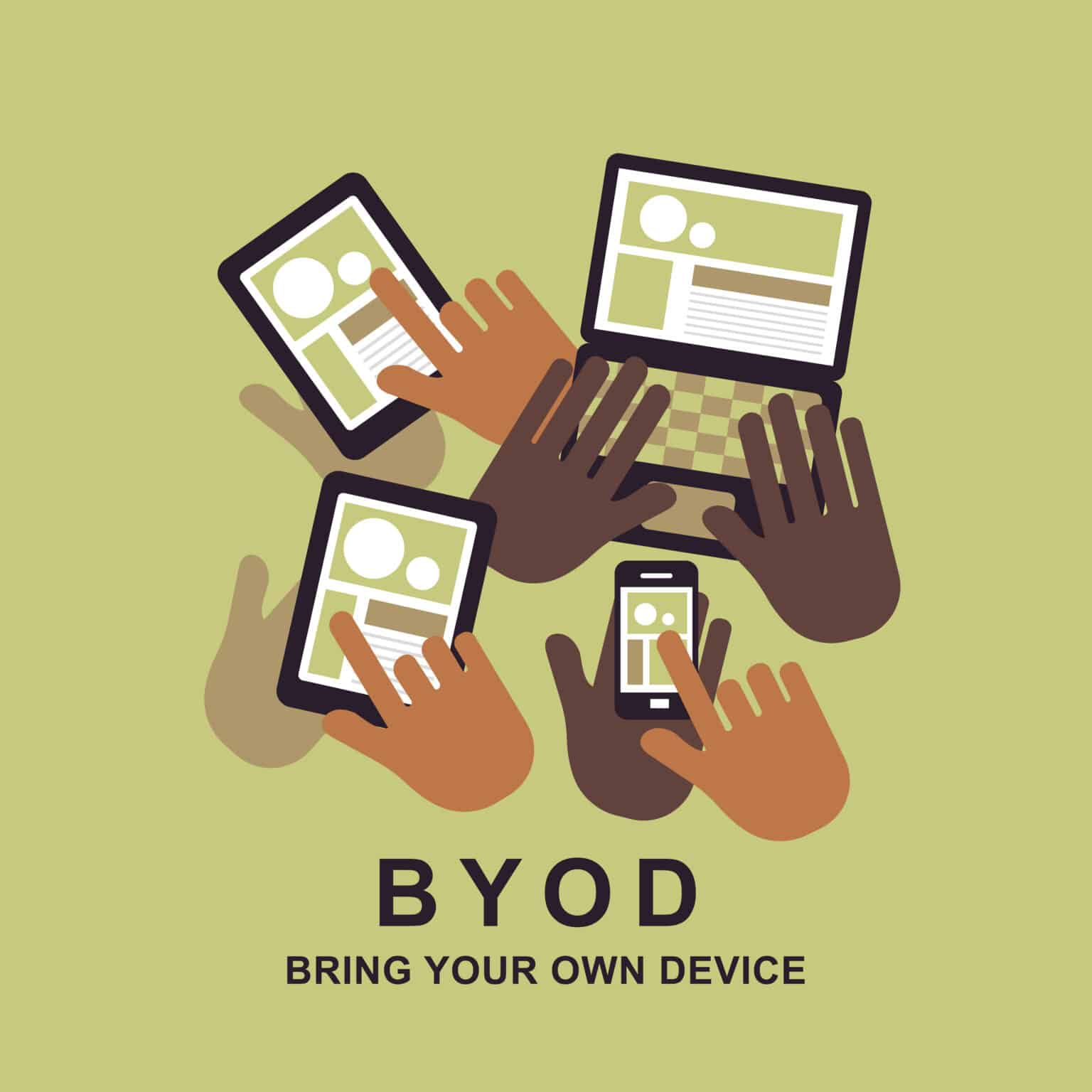 flat design concept of BYOD bring you own device