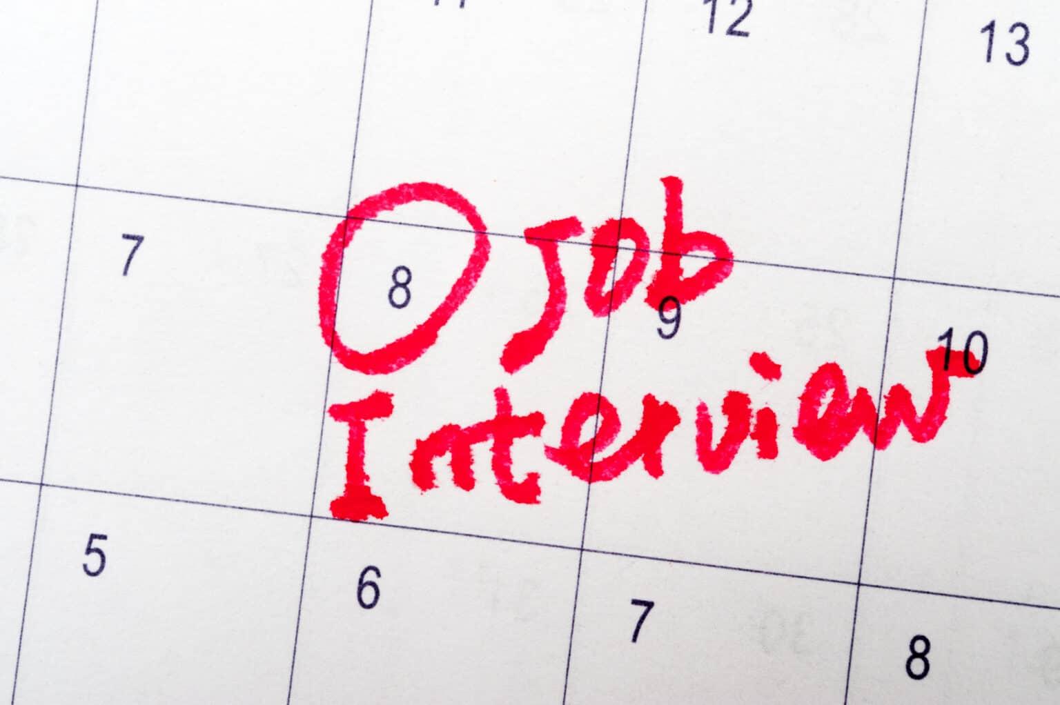 Job interview words written on the calendar
