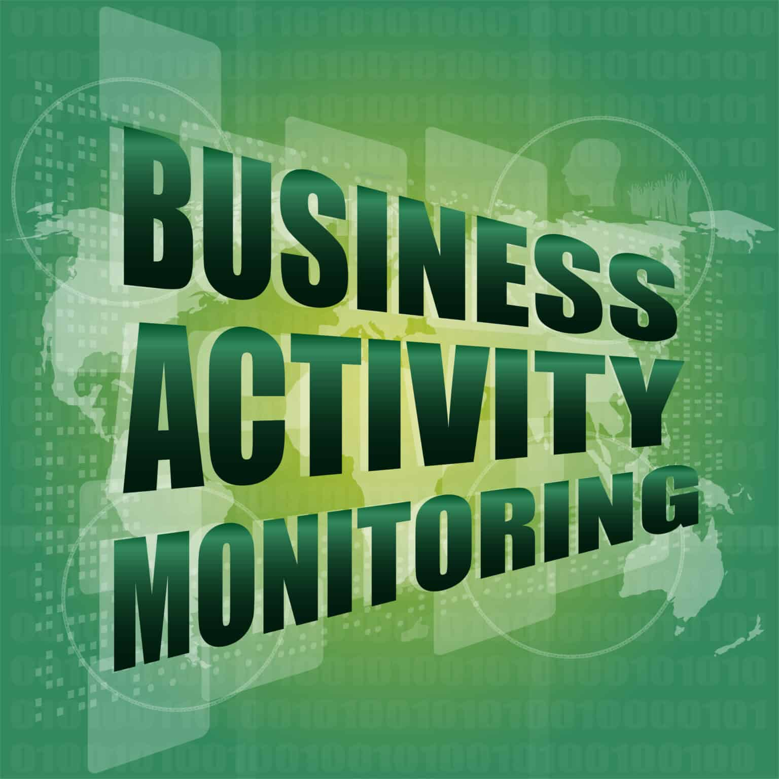 business concept, business activity monitoring digital touch screen interface