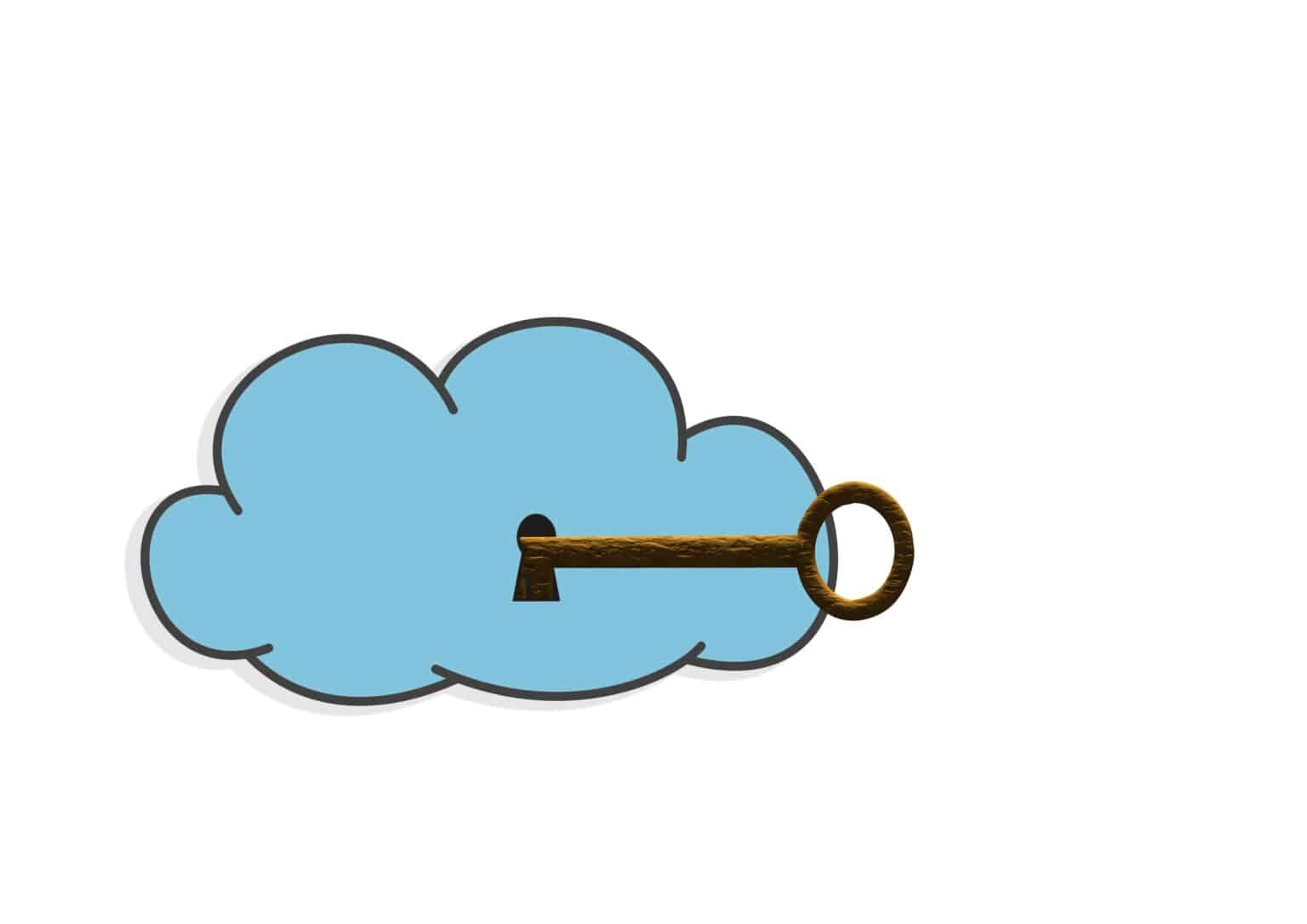 Illustration with a secure cloud  on white background.