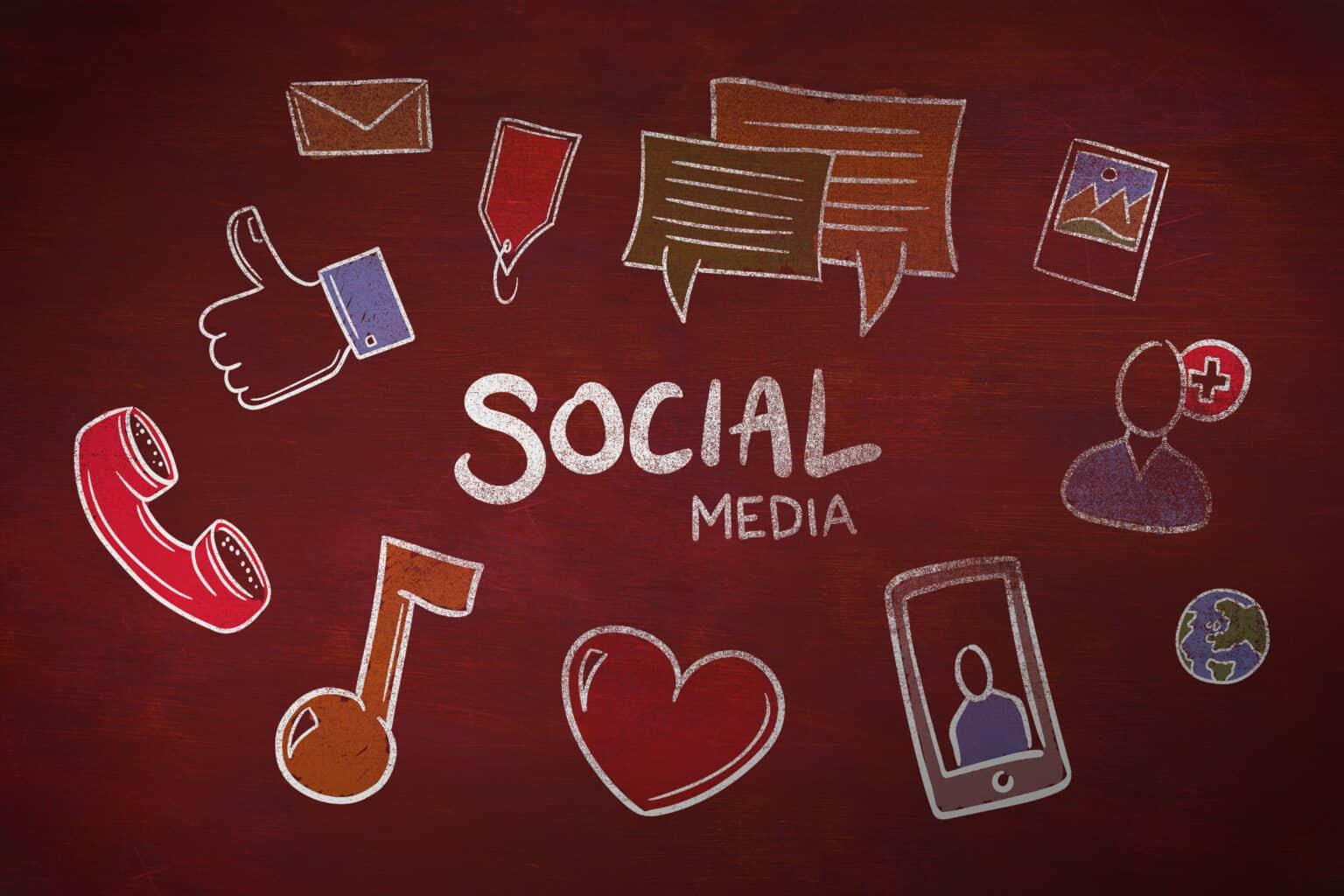 social media doodle against desk