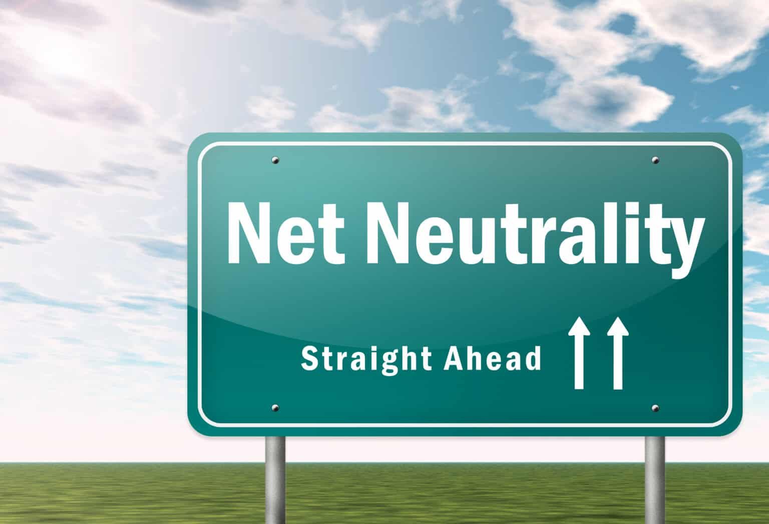 Highway Signpost with Net Neutrality wording