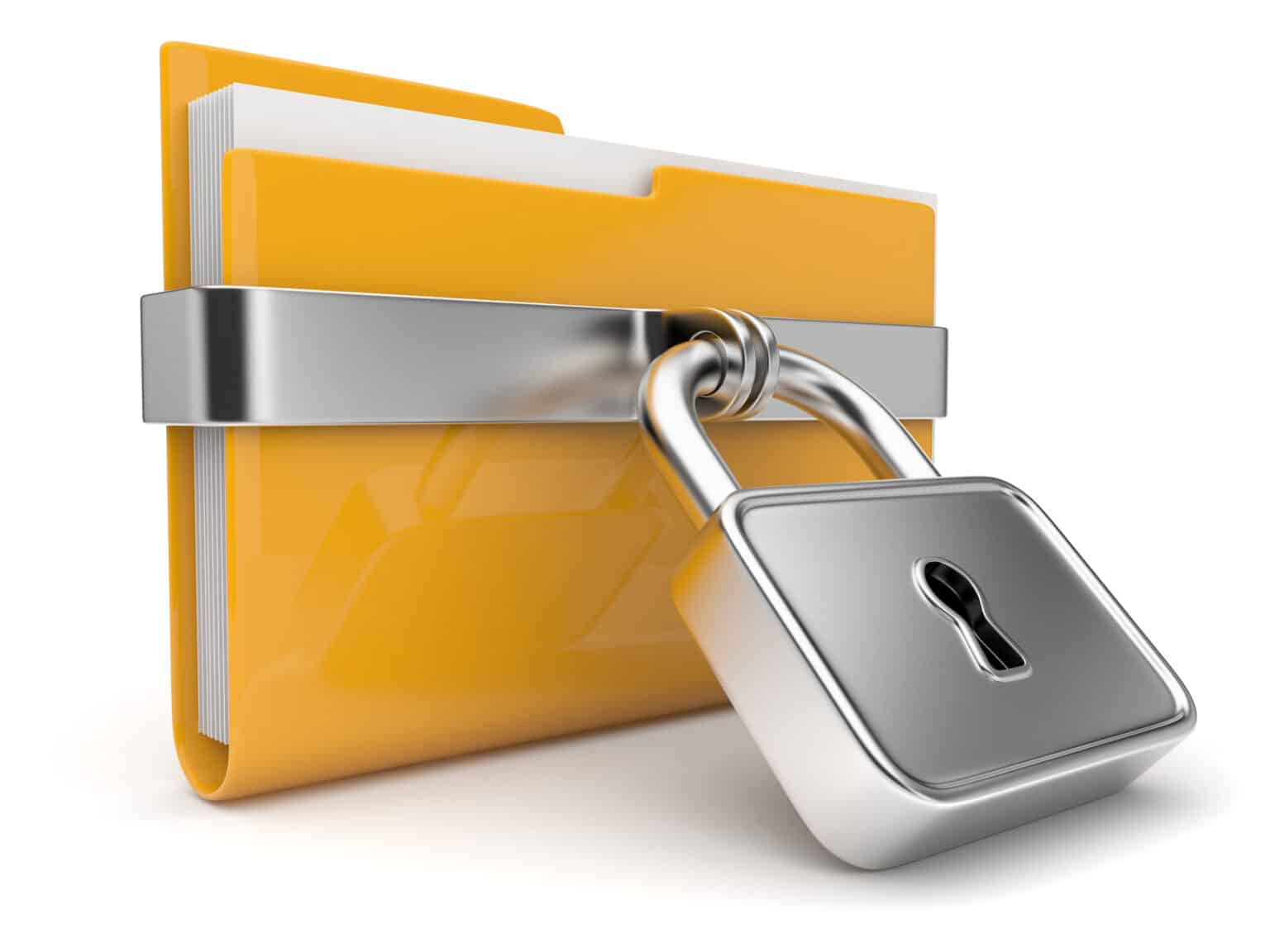 protect trade secret concept: folder secured with padlock