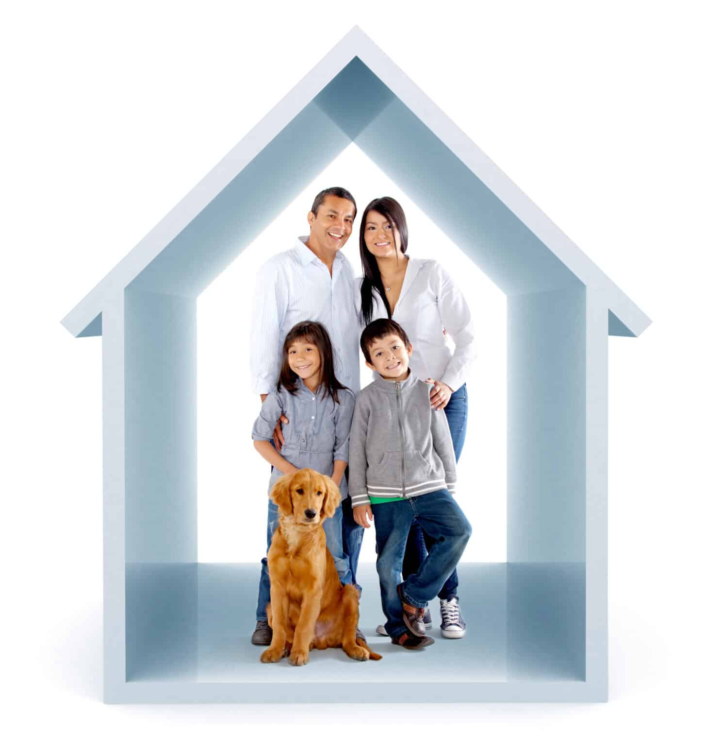 Family in a 3D house