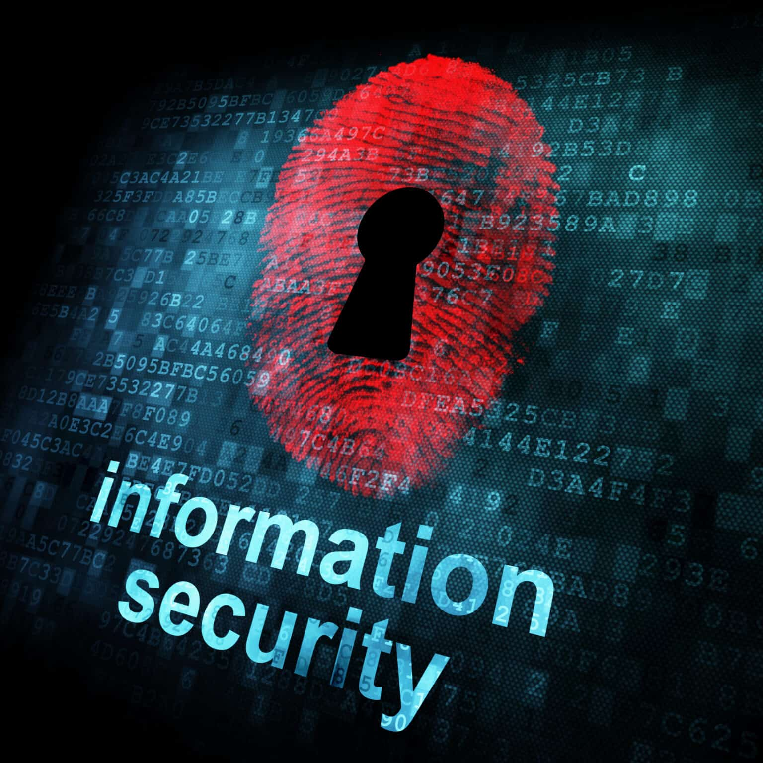 Fingerprint and information security on digital screen, 3d render