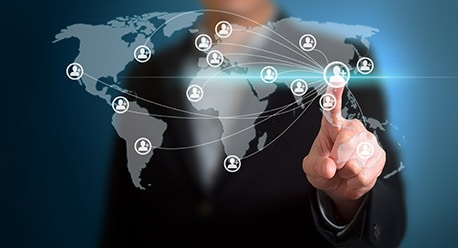 partnership business concept: digital world map