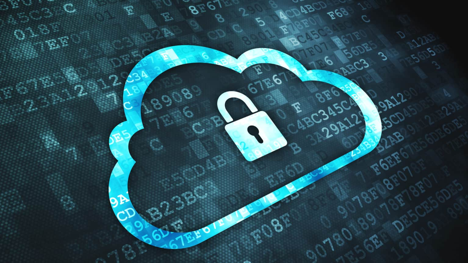 Networking concept: pixelated Cloud Whis Padlock icon on digital background, 3d render