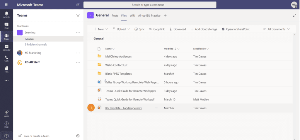 Teams file collaboration screenshot