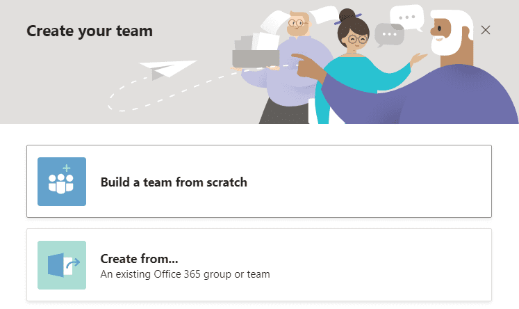 Create team from scratch or from Office 365 group screenshot