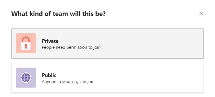 Setting Team Privacy screenshot