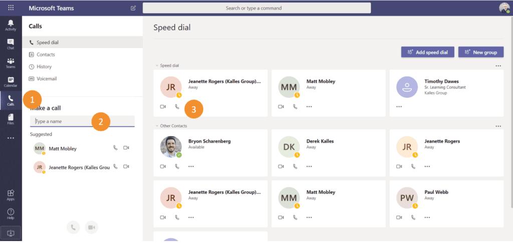 Make phone call in Teams screenshot