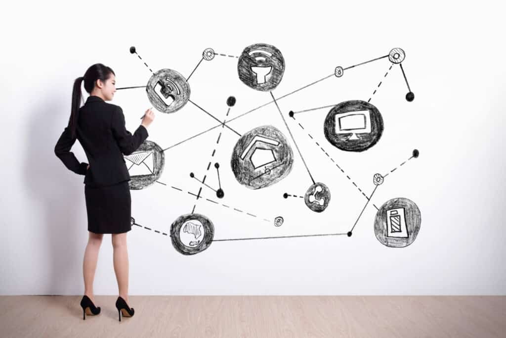 Back view of business woman writing internet of things on white wall background, asian