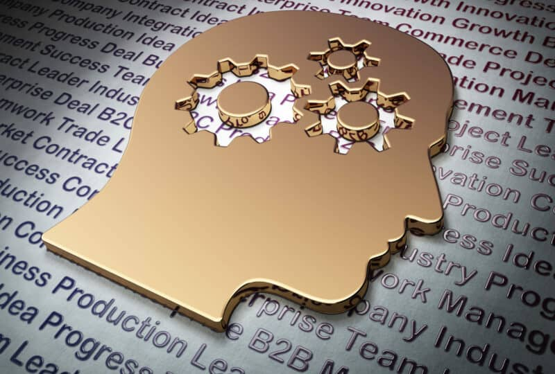 Finance concept: Golden Head With Gears on Business background, 3d render